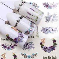 LCJ 1 feuille autocollants pour ongles transfert d'eau autocollant fleur pourpre/lavande dessins Nail Art curseur manucure décoration