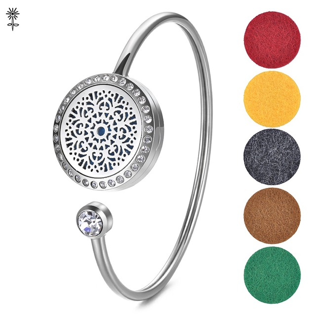 Stainless Steel Essential Oil Diffuser Perfume Locket Bangle Bracelet Magnetic Opening With 5 Color Pads Va
