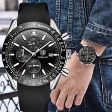 Benyar Chronograph ควอตซ์กีฬานาฬิกาผู้ชายนาฬิกากันน้ำยี่ห้อซิลิโคนหรูหราธุรกิจชายนาฬิกา relojes hombre horloges