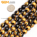 Natural Black Agate Gold Carved Dragon Turtle Tiger Phoenix Beads For Jewelry Making 10-14mm 15inches DIY FreeShipping Wholesale