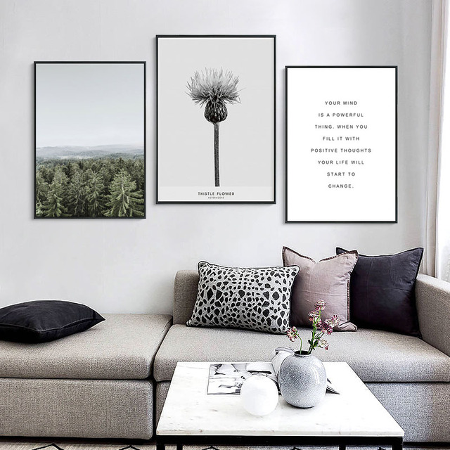 Forest Lotus Flower Posters And Prints Nordic Poster Cuadros Wall