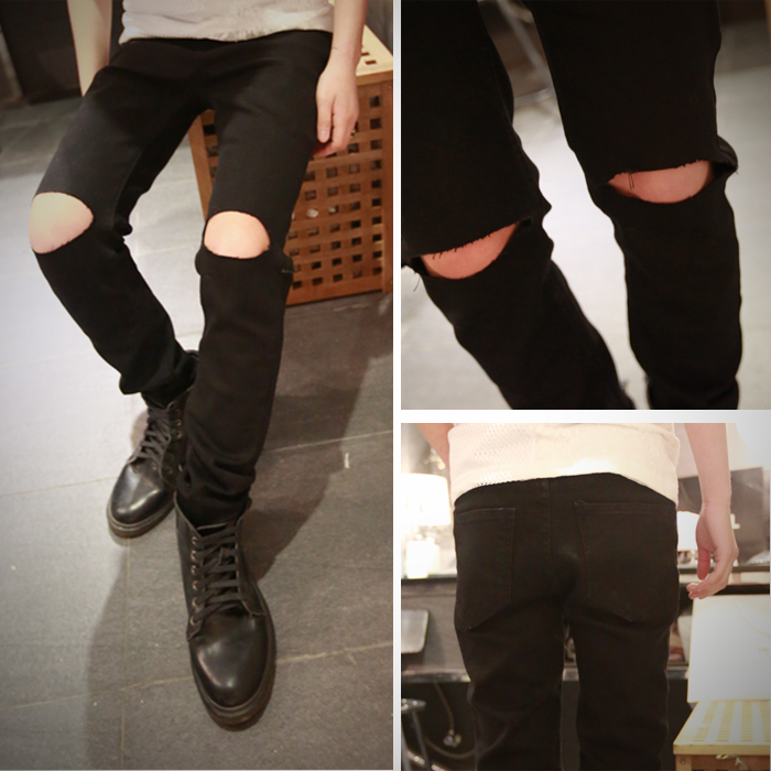 fashion men ripped jeans skinny white black hip hop jeans pants designer brand slim Distressed kanye west zipper jeans
