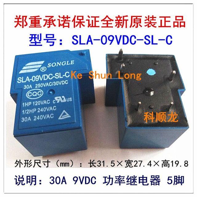 Livraison gratuite lot (10 pièces/lot) 100% Original Nouveau SONGLE SLA 09VDC SL C SLA 9VDC SL C 5 BROCHES 6 BROCHES 30A250VAC/30VDC 9VDC Relais De Puissance