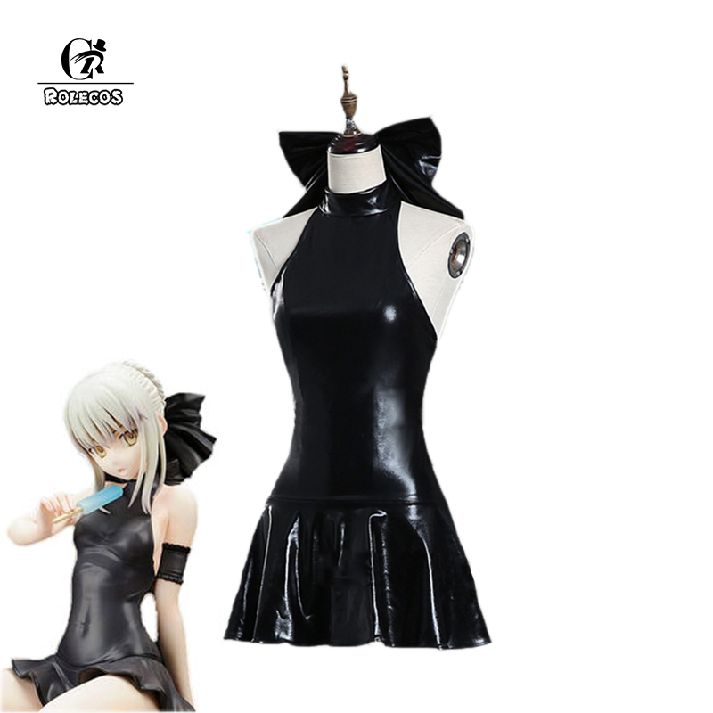 ROLECOS Fate Stay Night Altria Pendragon Cosplay Swimsuit Fate Zero Saber Cosplay Costume PU Swimsuit Sexy Cosplay Costume rolecos japanese anime fate stay night altria pendragon cosplay costume fate zero saber arturia pendragon cosplay costume