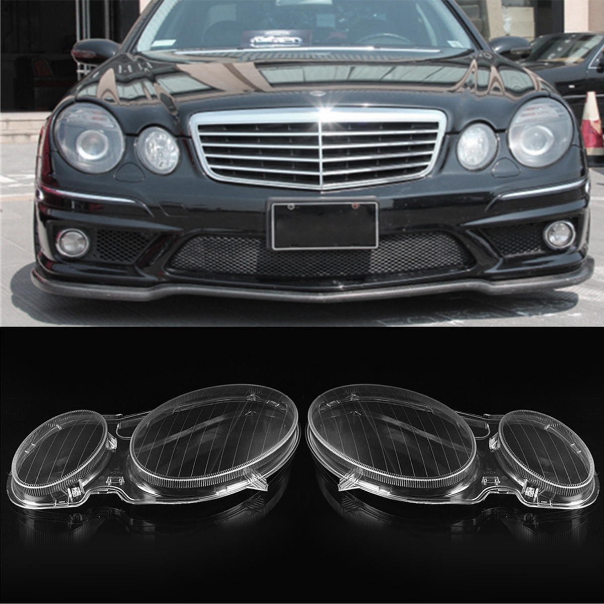 1Pair Headlight Lenses Headlamp Replacement Cover Shell Left / Right Side For MERCEDES For BENZ E CLASS W211 E320 E350 2002-08