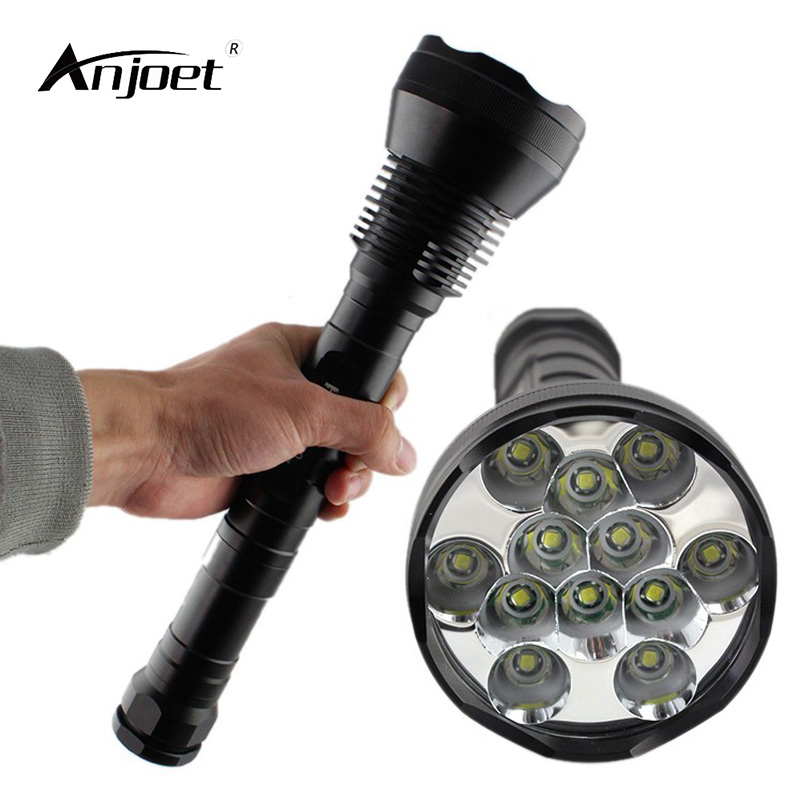 ANJOET High Brightness led flashlight 12T6 13000 Lumen 12x XML T6 torch 26650 18650 for Outdoor Sports Camping adventure free shipping new 6pc 3 flutes 90 degree hss chamfer chamfering cutter end mill drill bits milling metal cutting tool set