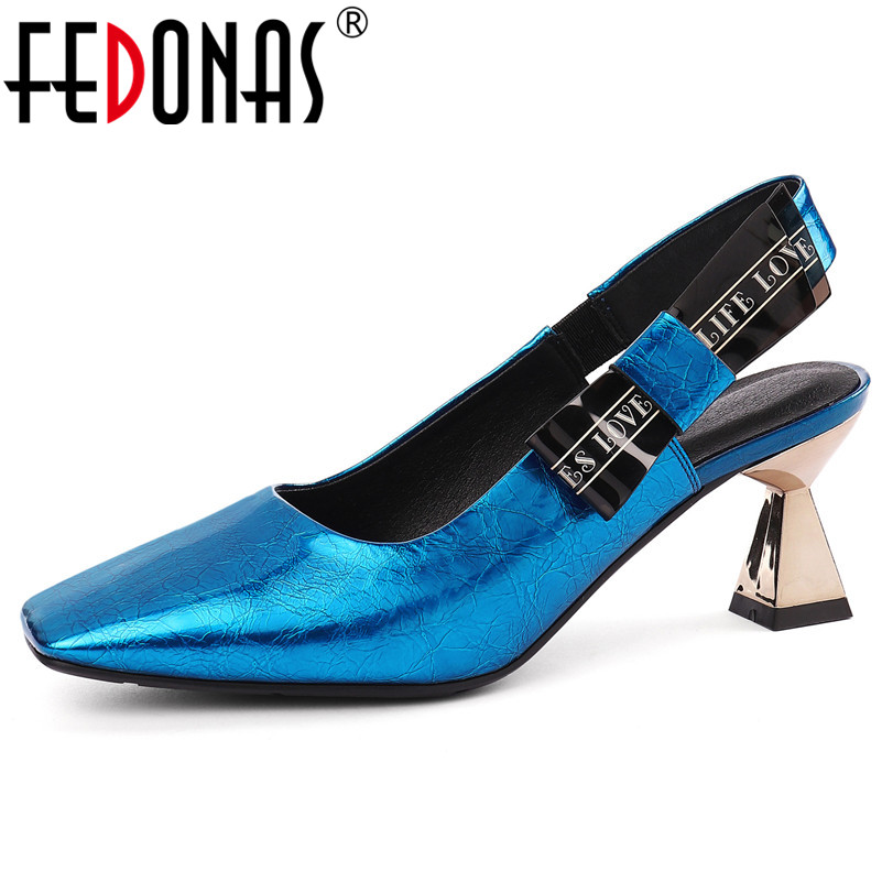 Fedonas 여성 패션 펌프 이상한 하이힐 정품 가죽 솔리드 컬러 간결한 펌프 봄 여름 파티 파티 신발 여성-에서여성용 펌프부터 신발 의  그룹 1