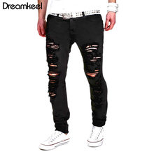 Black Ripped Jeans Men 2018 New Scratched Biker Cool JeansHip Hop with Holes Denim Super Skinny Slim Fit Jean Pants Streetwear X(China)
