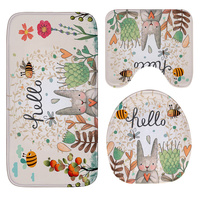 Honlaker Hello Rabbit Flannel Absorbent Non Slip Mat Bathroom Toilet Mats Set Bath Rugs Toilet Covers