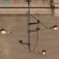 Европейский Nordic Ретро лампочка Эдисона люстра Винтаж Лофт Америка отрегулировать люстры DIY искусства паук потолочный светильник лампа све