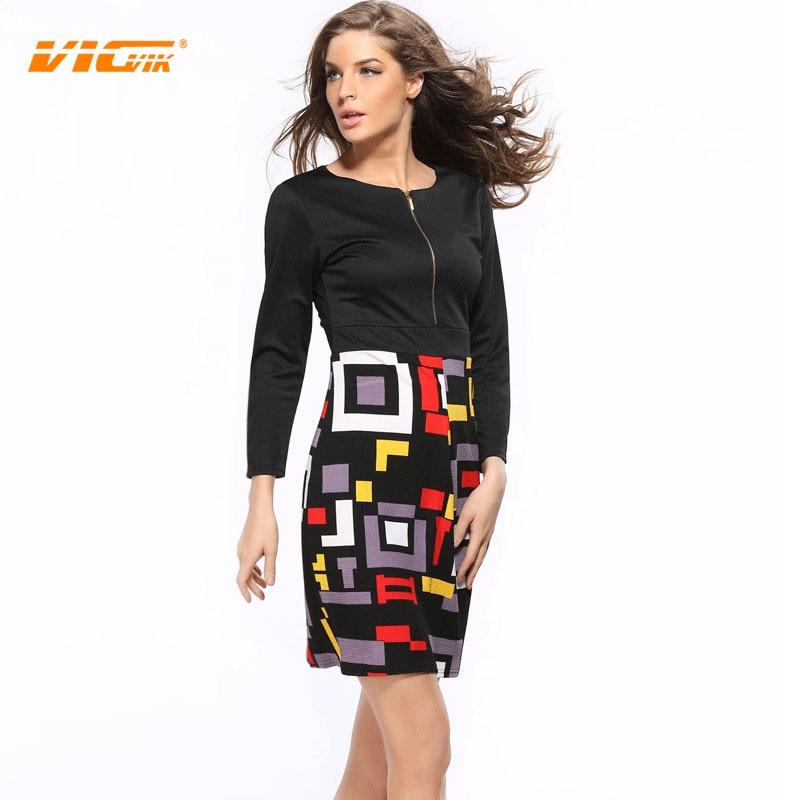 Vicvik Brand Womens Vintage Pattern Dress Long Sleeve Dress European