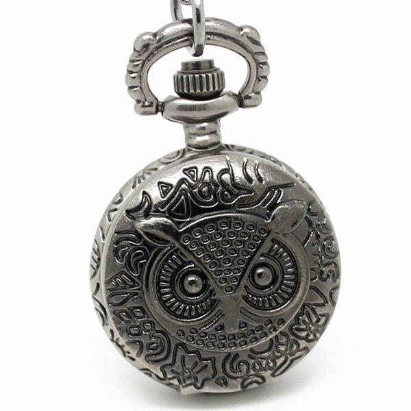 3002) 12 шт/лот стимпанк винтажные резные карманные часы с совой цепочкой ожерелье Кулон диаметр 2,7 см Хэллоуин Рождественские вечерние подарки - Цвет: Black