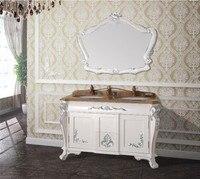 Hot sales antique bathroom cabinet with mirror and sink classic bathroom vanity