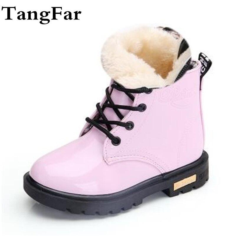 Crianças sapatos de borracha botas crianças botas de couro patente meninos meninas à prova dwaterproof água de pelúcia botas de neve da criança tênis botas
