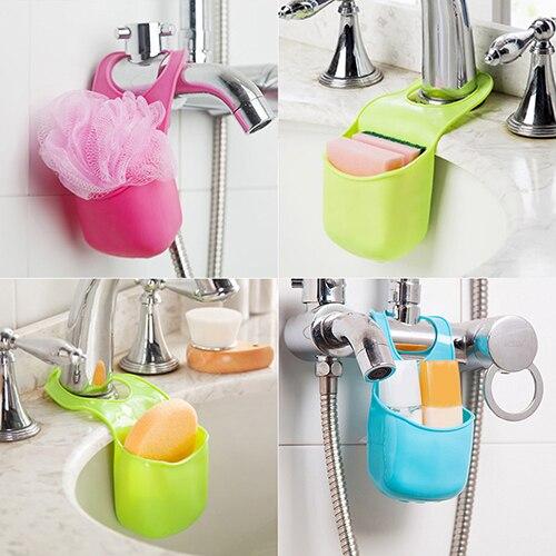 Hot Sale Kitchen Sink Sponge Holder Bathroom Hanging Strainer Organizer Storage Box Rack 7JKT