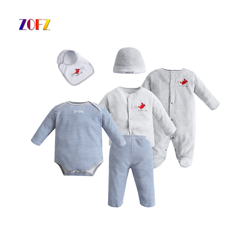 ZOFZ Baby Clothing for baby boys 6pcs/Set O-Neck Regular Casual Striped Baby Clothes 2017 New Fashion Cotton Sets for Bebes new sexy vs045 1 6 black and white striped sweather stockings shoes clothing set for 12 female bodys dolls