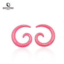BODY PUNK 1Pair Pink Acrylic Snail Spiral Ear Plugs Flesh Tunnel Snail Expander Body Piercing Jewelery Free Shipping SPA 003PA