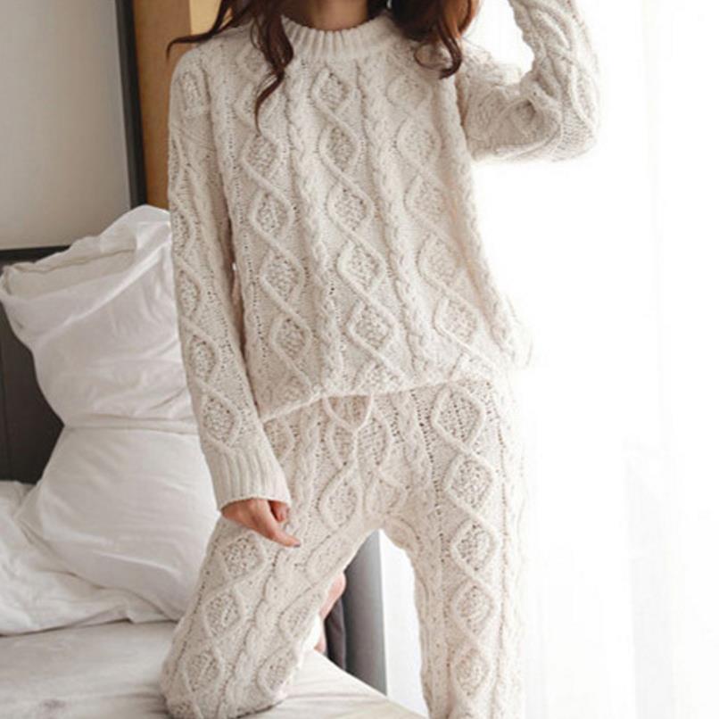 ניו סתיו נשים CottonTracksuit 2 סט שתי חתיכה להאריך ימים יותר סוודרים למעלה + מכנסיים צמד סריגי O צוואר סרוג חליפה