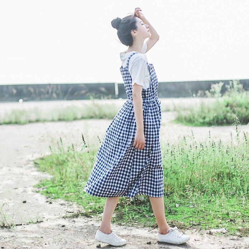 Summer Spaghetti Strap Plain Dress High Waist Women Dress Casual Loose Cotton Linen Plaid Long Dress BlackRed Lolita Sundress