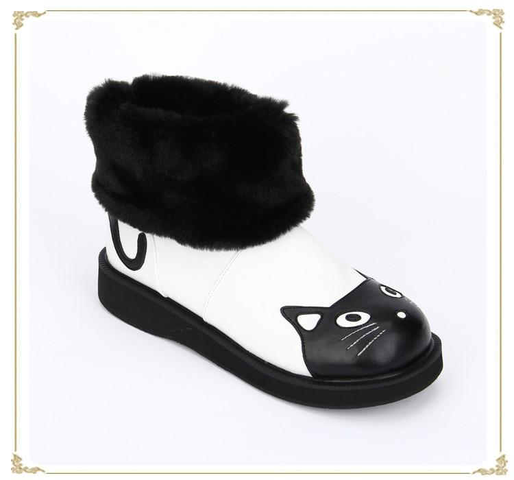 Princess sweet lolita shoes custom Japanese winter animation new winter cat ears round-toe slip-on boots pu8885 princess sweet lolita parkas in the winter of new women s original japanese sweet fox fur collar long sleeved coat c22cd7219