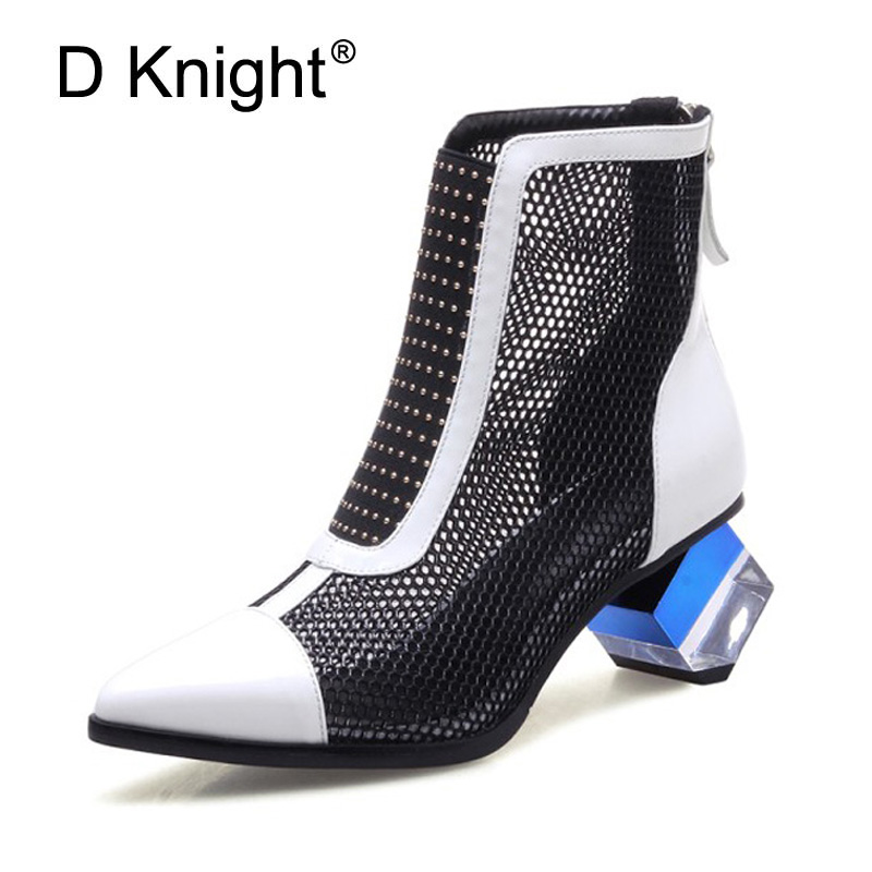 Summer Boots Shoes Woman 2018 Spring Fashion Mesh Ankle Boots For Women Patent Genuine Leather Color Block High Heels For Woman mvvjke 2018 spring summer new bow genuine leather women boots hollow mesh ankle boots comfortable low heels fashion shoes