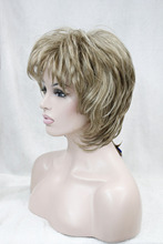 New super flaxen with blonde selected charming fluffy layered wavy women synthetic 14 full wig Free