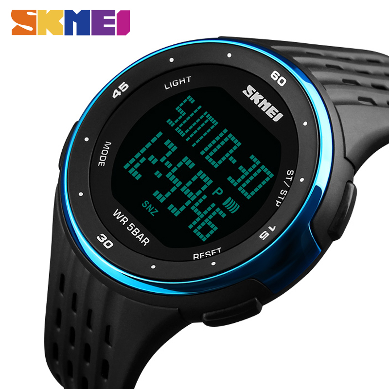 SKMEI 1219 Men Sport Watch Chronograph Alarm Clock Digital Watches Relogio Masculino LED Display Waterproof Wristwatches