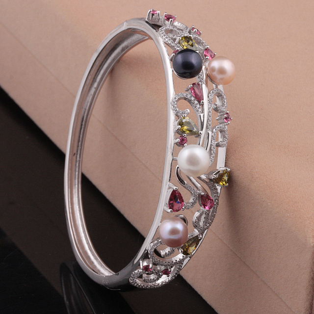 [MeiBaPJ] Real 925 Solid silver high quality Phoenix Colorful Bracelet for Women Real Natural Pearl Bangle Jewelry Gift Box