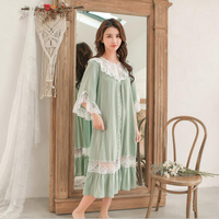 Green color women sexy lace sleep wear three quarter sleeves royal and vintage lady long nightgown