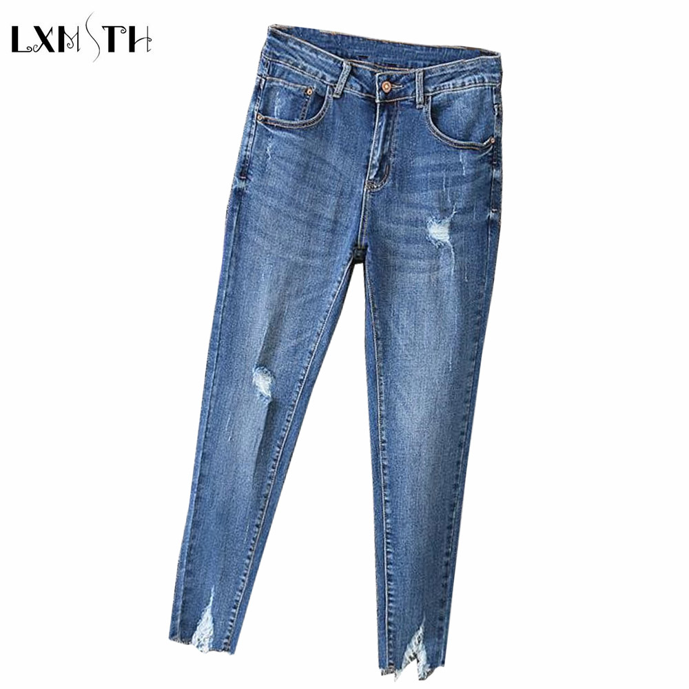 LXMSTH Skinny Jeans Woman Korean 2018 Spring New Slim Thin Pencil Denim Pants Large Size Hole Irregular Stretch Jeans Women 40 lxmsth 26 40 large size women jeans 2017 new arrival hole high waist loose jeans woman casual ankle length pants ripped trousers