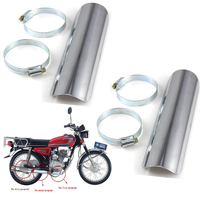 2pcs Chrome Motorbike Decor Protector Motorcycle Exhaust Pipe Cover Heat Shield Heel Guard Cover For Honda