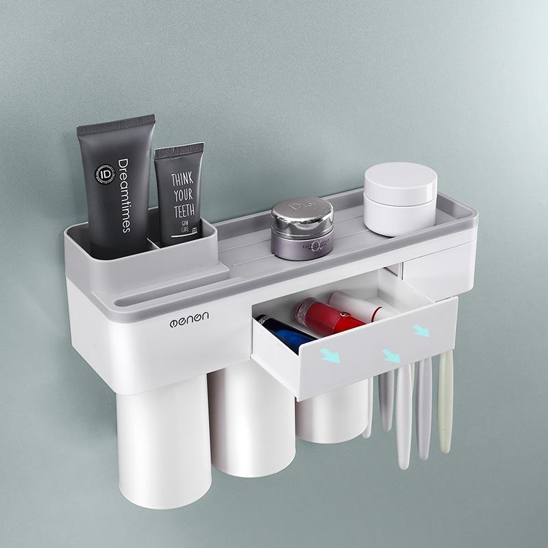 Magnetic Adsorption Inverted Wall Mounted Toothbrush Holder With Cups Toothpaste Dispenser Makeup Cleaner Bathroom Organizer