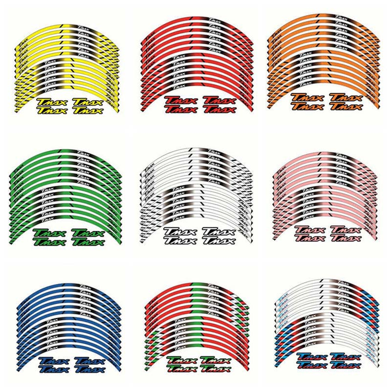 Motorcycle Wheel Decals Stickers Set Rim Stripes Laminated For YAMAHA TMAX