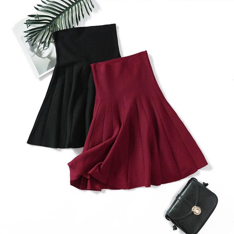 Sherhure 2019 High Waist Women Spring Knitting Mini Skirts Stretch Women A-line Black Pleated Skirt Faldas Jupe Femme Saia