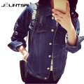 Plus Size Spring Jacket Women 2017 Denim Frayed Chaquetas Mujer Korean Loose Coat Woman Outerwear&Coats Pockets Jeans Jackets