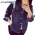 Plus Tamaño de Las Mujeres Chaqueta de Primavera 2017 Denim Deshilachados Chaquetas Mujer Coreana Suelta Abrigo de Mujer Ropa de Abrigo y Abrigos Bolsillos Jeans Chaquetas