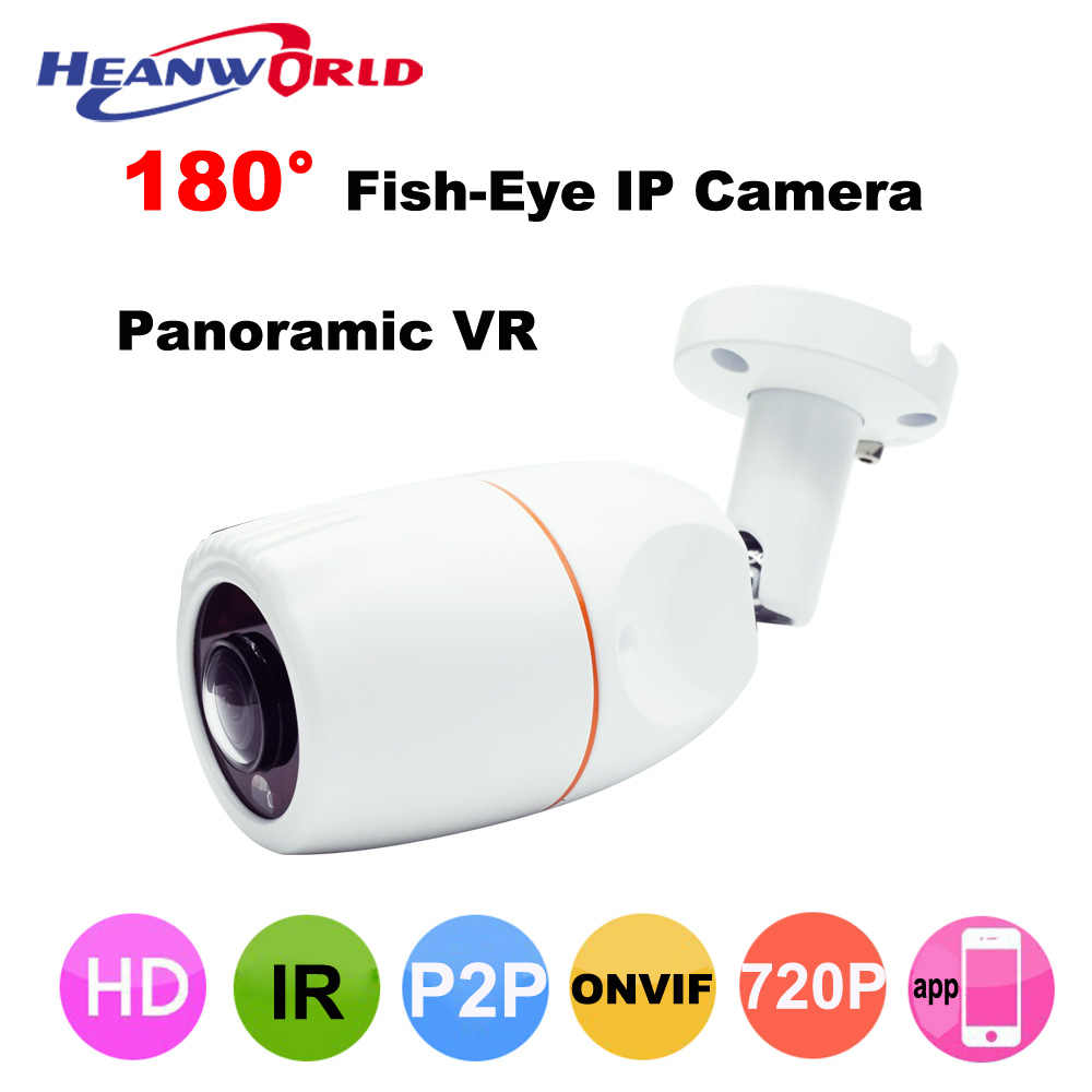 Fish-Eye Outdoor IP Camera 180 degree Wide Angle 720P Bullet HD Security Cameras ONVIF Waterproof IP Cam P2P CCTV Monitoring APP