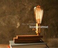 Rotate 360 Degrees Lamp Edison Bulbs Wooden Desk Lamp Of Adjustable Light Lamp Antique Desk Lamp