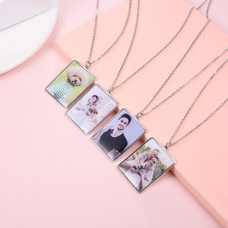 U7 100% 925 pingente de prata esterlina & corrente gravado personalizado foto dia das mães/presentes do pai na moda jóias sc82 - 4