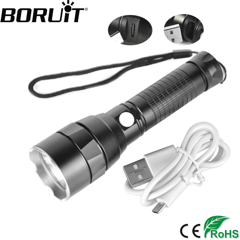 BORUiT 1200LM XM-L2 LED Tactical Flashlight USB Charge Powerful Torch Power Bank Rechargeable Flash Light Riding Hunting Lantern usb flashlight 3800lm high power lantern linternas cree xm l t6 police lamp torch tactical led flash light for power bank zoom
