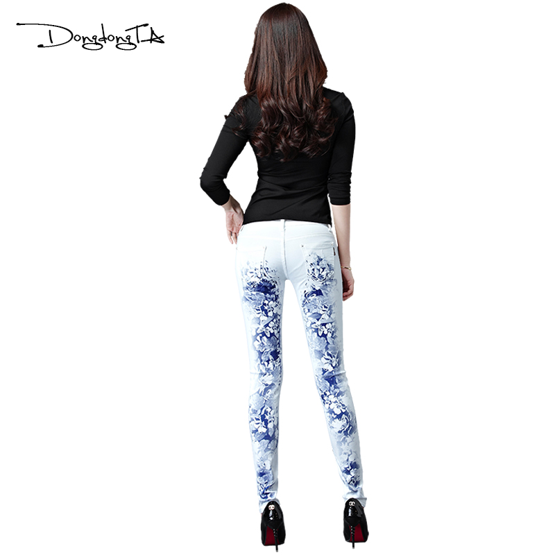 Dongdongta New Jeans Women Girls 2017 Ny originaldesign Mid midja Vit - Damkläder - Foto 5