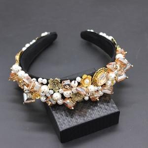 Image 4 - Personality street style headband Baroque exaggerated crystal pearls with headband catwalk dance multicolor headband 903