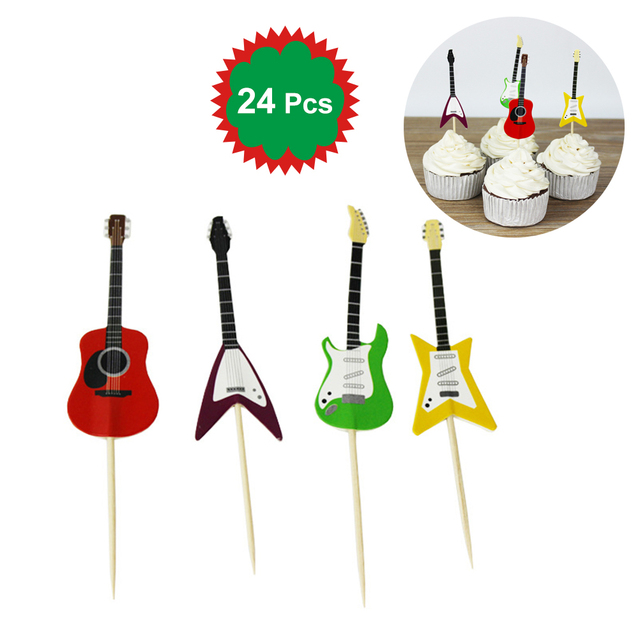 24 Pcs Guitar Design Cupcake Toppers Musical Instrument Shape Cake