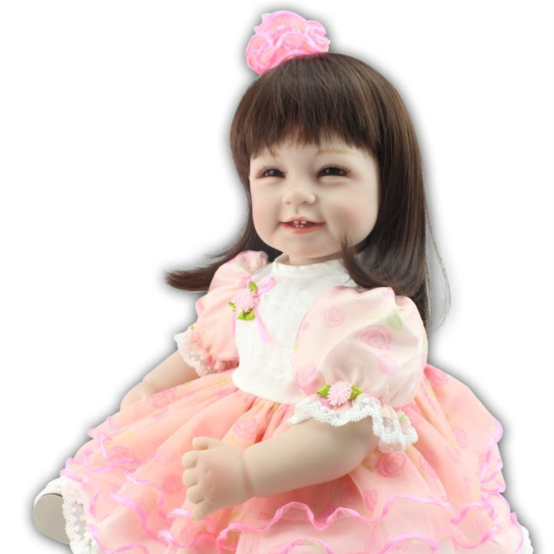 22inch Soft Silicone Reborn Doll Longhair Smiling Baby Girl New Year Gifts Toys