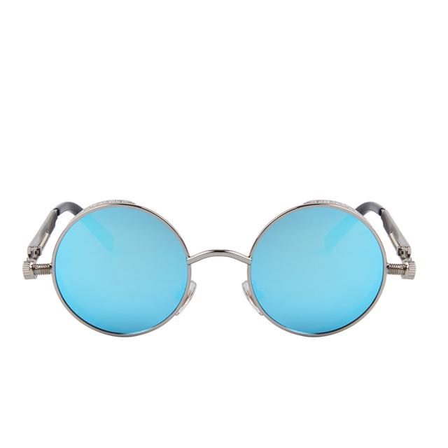 Gothic Steampunk Mens Sunglasses Coating Mirrored Sunglasses Round Circle Sun glasses Retro Vintage Gafas Masculino Sol S'567