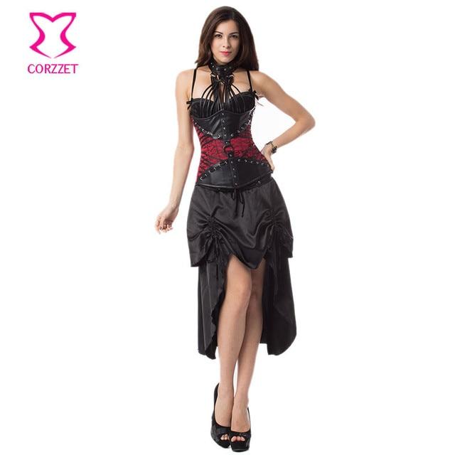 Corzzet Red Leather Armor Steampunk Underbust Corsets And Dress Waist Slimming Vintage Corset Sets Plus Size Gothic Corset Dress