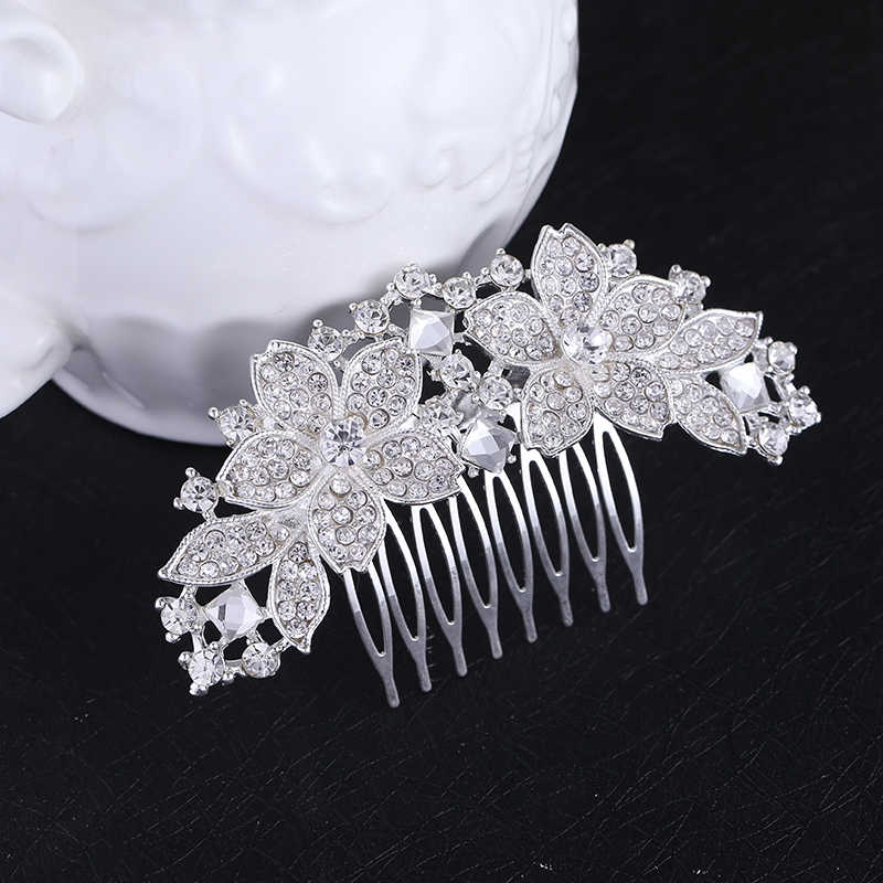 ... Women Bridal Wedding Silver Crystal Diamante Rhinestone Flower Hair  Comb Hair Accessories Headwear Bride Tiara HOT ... 2216d2b816ea