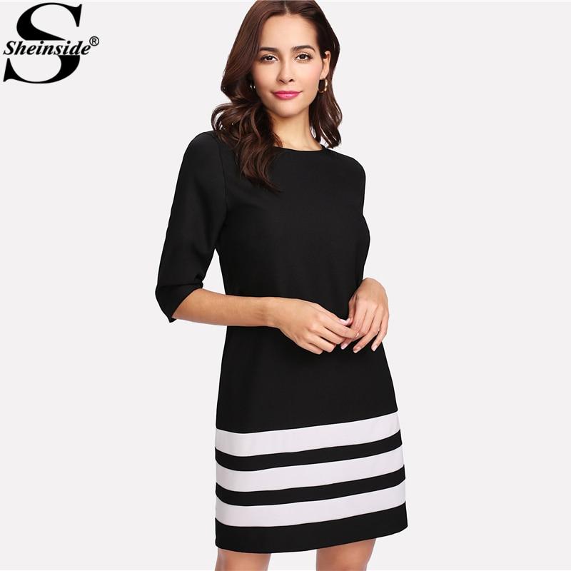 Sheinside Contrast Striped Dress Color Block Round Neck Half Sleeve Shift Elegant Dress 2018 Spring Women OL Work Dress