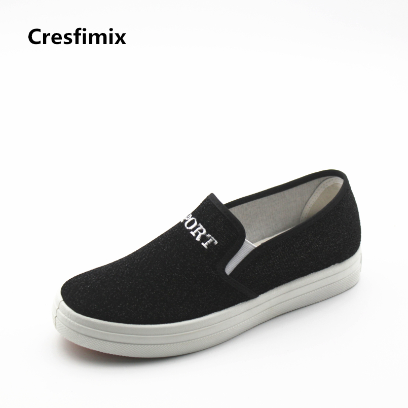 Cresfimix zapatos de mujer women cute canvas slip on flat shoes lady fashion spring & summer flats female leisure black shoes 2018 women summer slip on breathable flat shoes leisure female footwear fashion ladies canvas shoes women casual shoes hld919