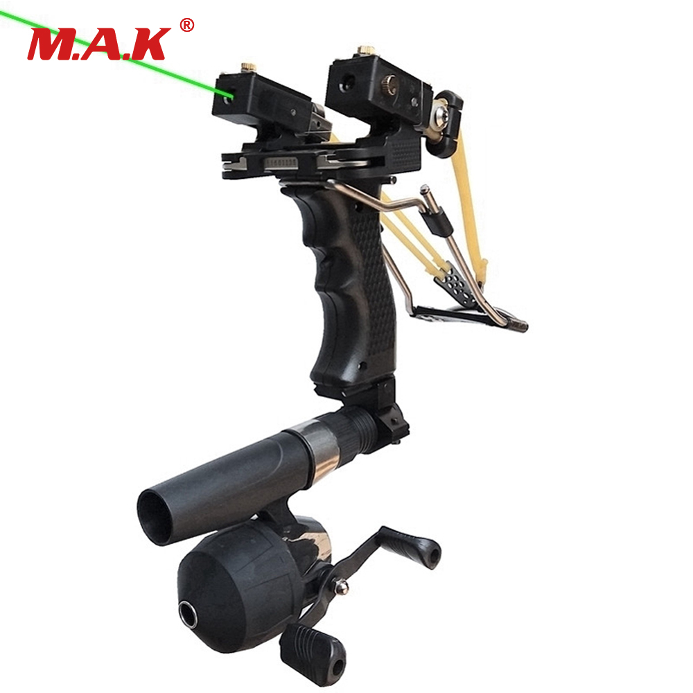 Red/Green Laser Fish Slingshot with the Fishing Reel Stainless Steel Aluminium Alloy Archery Shooting Hunting Equipment memunia 2018 new arrive women pumps